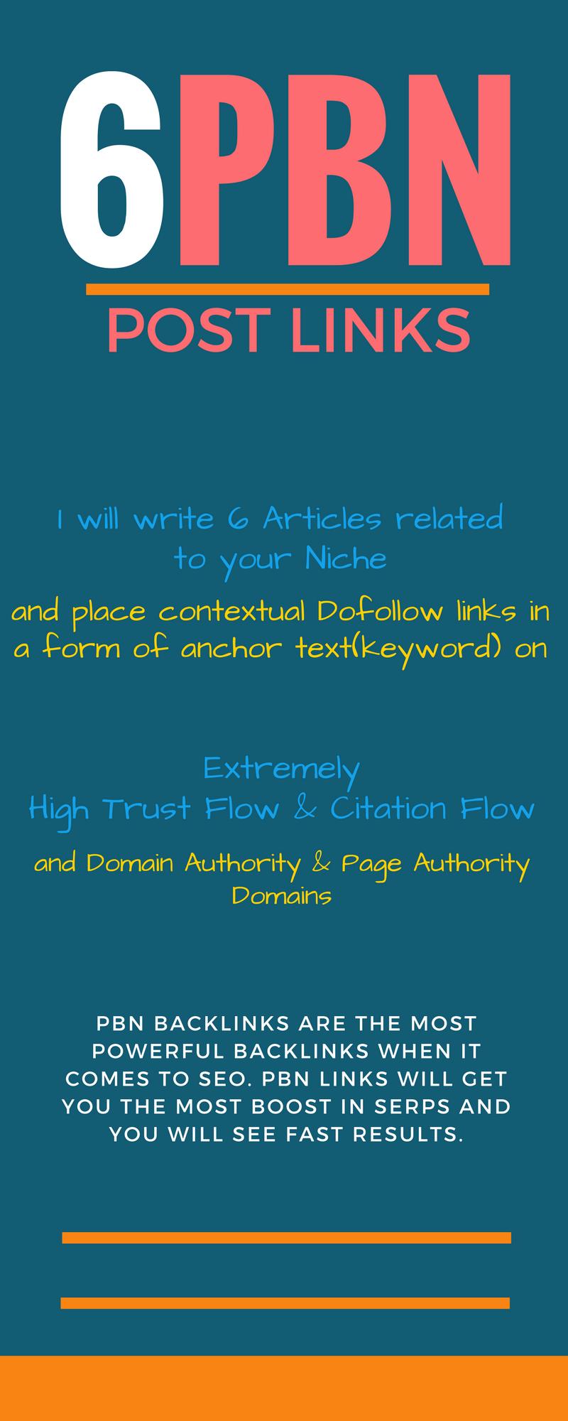 6 Homepage PBN Post Links TF+30, High DA DOFOLLOW, ...
