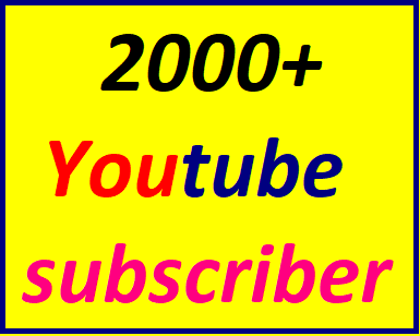 Guaranteed 2000+You'tube channel subscriber non drop Instant start Just