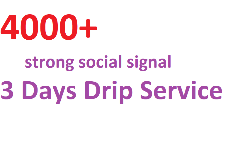 Boost your URl with Top class 4000+ Strong and Best social signal 3 Days Drip