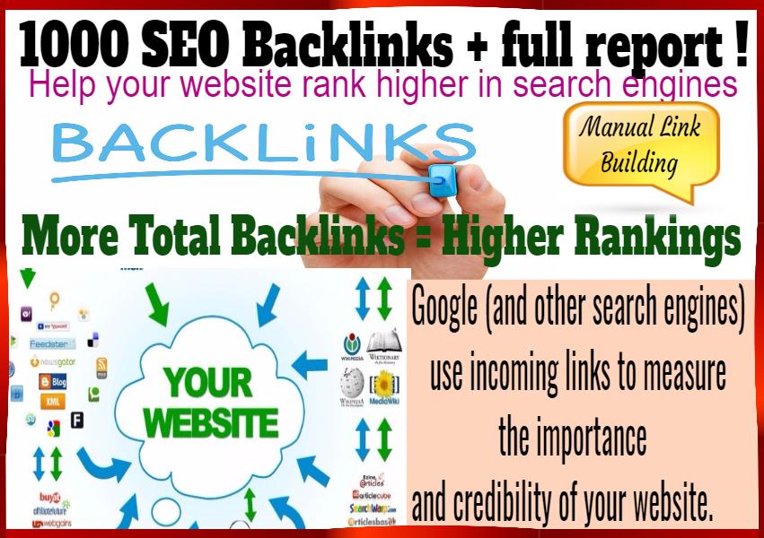 1000 SEO backlinks + full report