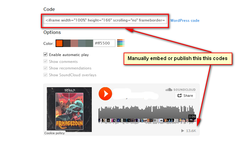 manually publish your soundcloud mp3 to best 50 music publisher site