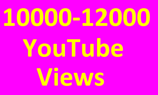 10,000 to 12,000 High Quality YouTube Views Non Drop Refill Guaranteed Very Fast Completed