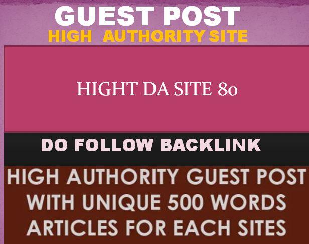 Only Publish High DA 80 site