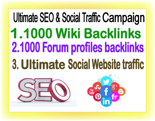 SEO & Social Traffic Campaign- 100 Wiki Backlinks-100 Forum Profiles Backlinks- Ultimate Social Website Traffic