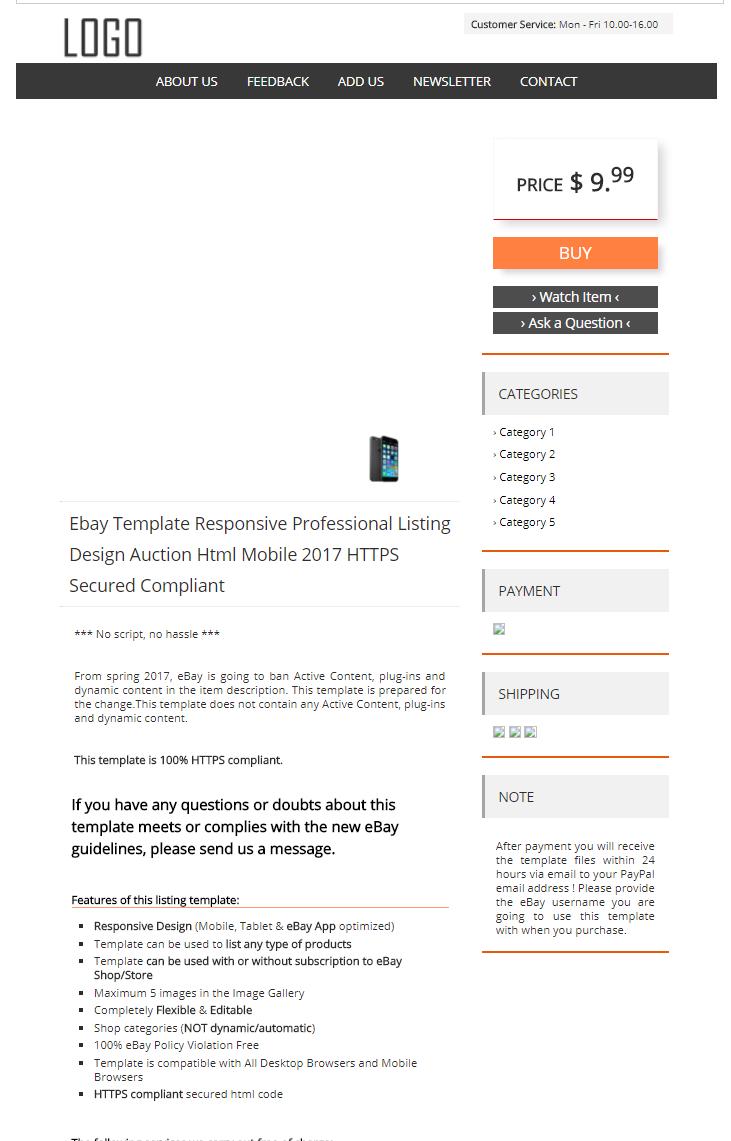 ebay template design auction mobile professional responsive html for 5 seoclerks. Black Bedroom Furniture Sets. Home Design Ideas