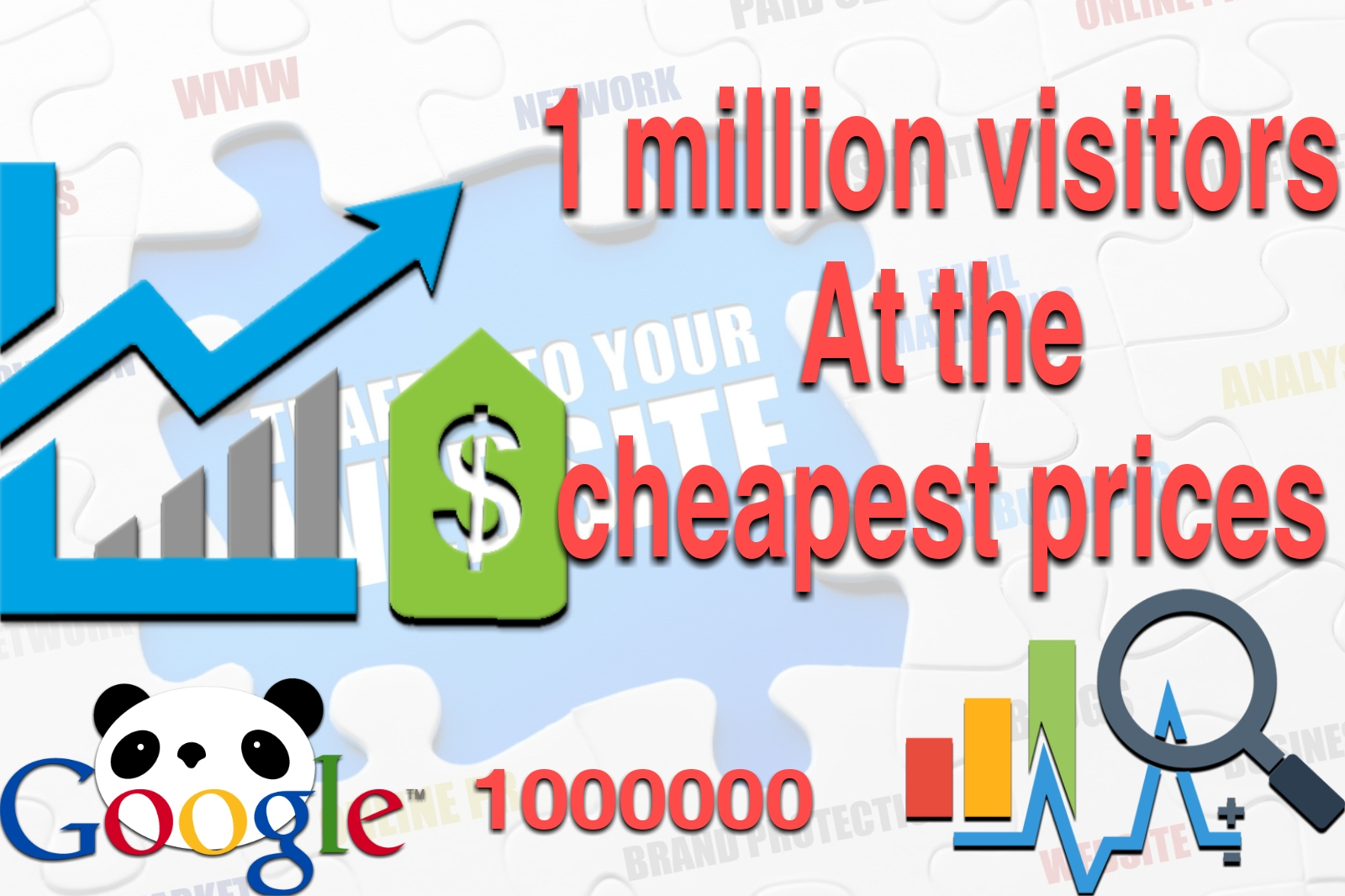 Get 1000000 1 million visitors/Traffic to your site at the lowest prices