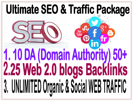 Ultimate Ranking Package-10 DA DOMAIN AUTHORITY -25 WEB 2.0 Blogs Backlinks-Unlimited Social web traffic