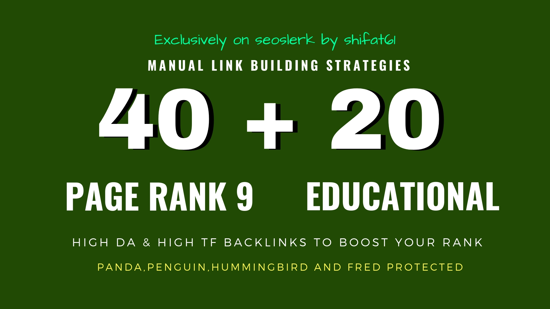 40 Pr9 + 20 Edu Gov High Trust SEO Authority Backlink...