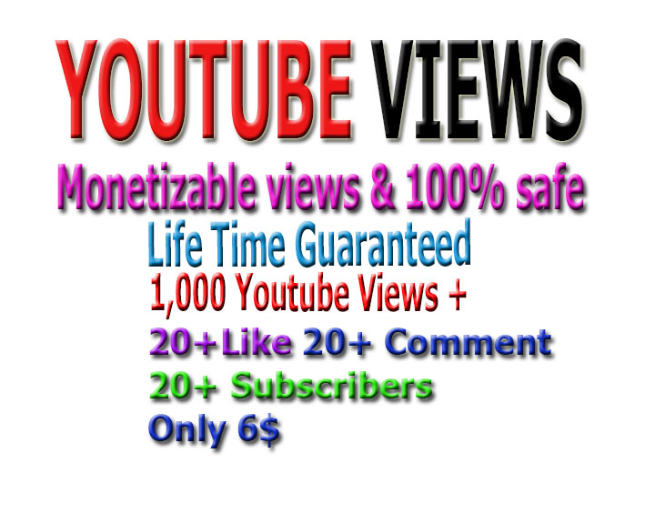 Promotion monetizable Guaranteed 1,000 vi-ews,  10 li-kes +10 good comments and 10 subs-cribers to your Youtube video