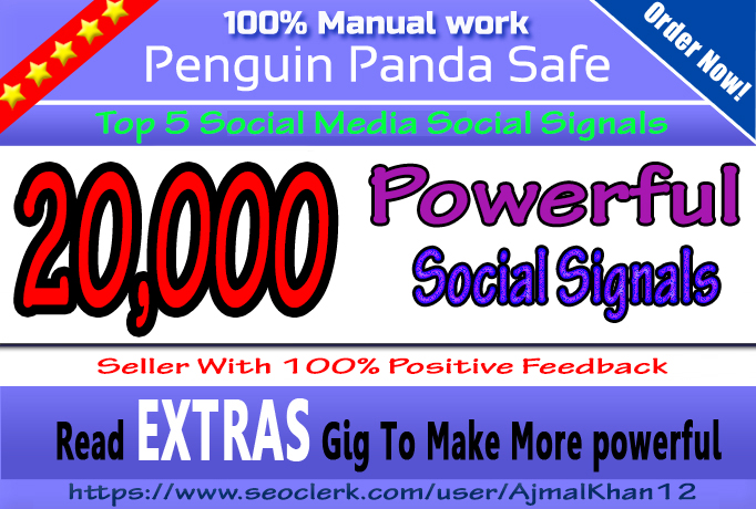 20,000+ SEO Friendly Powerful Social Signals From Top Social Media Important For SEO Ranking