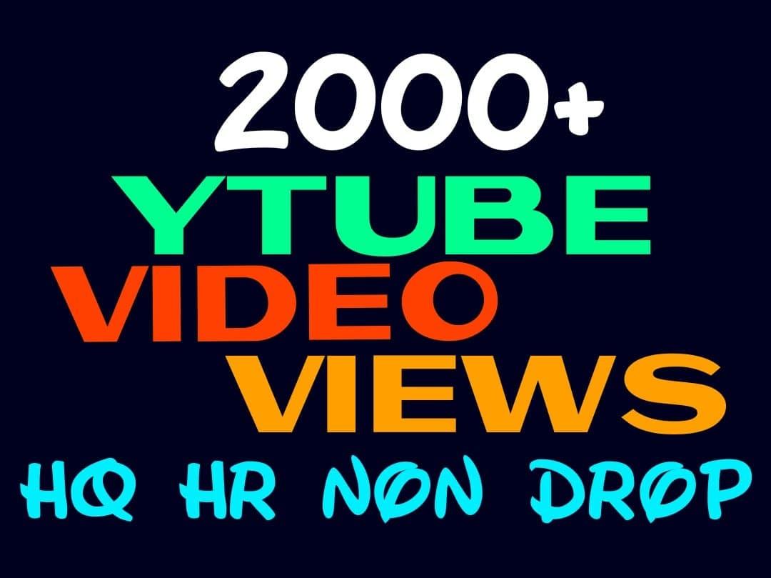 Deliver 2000+ HQ, HR, NON DROP YOUTUBE service