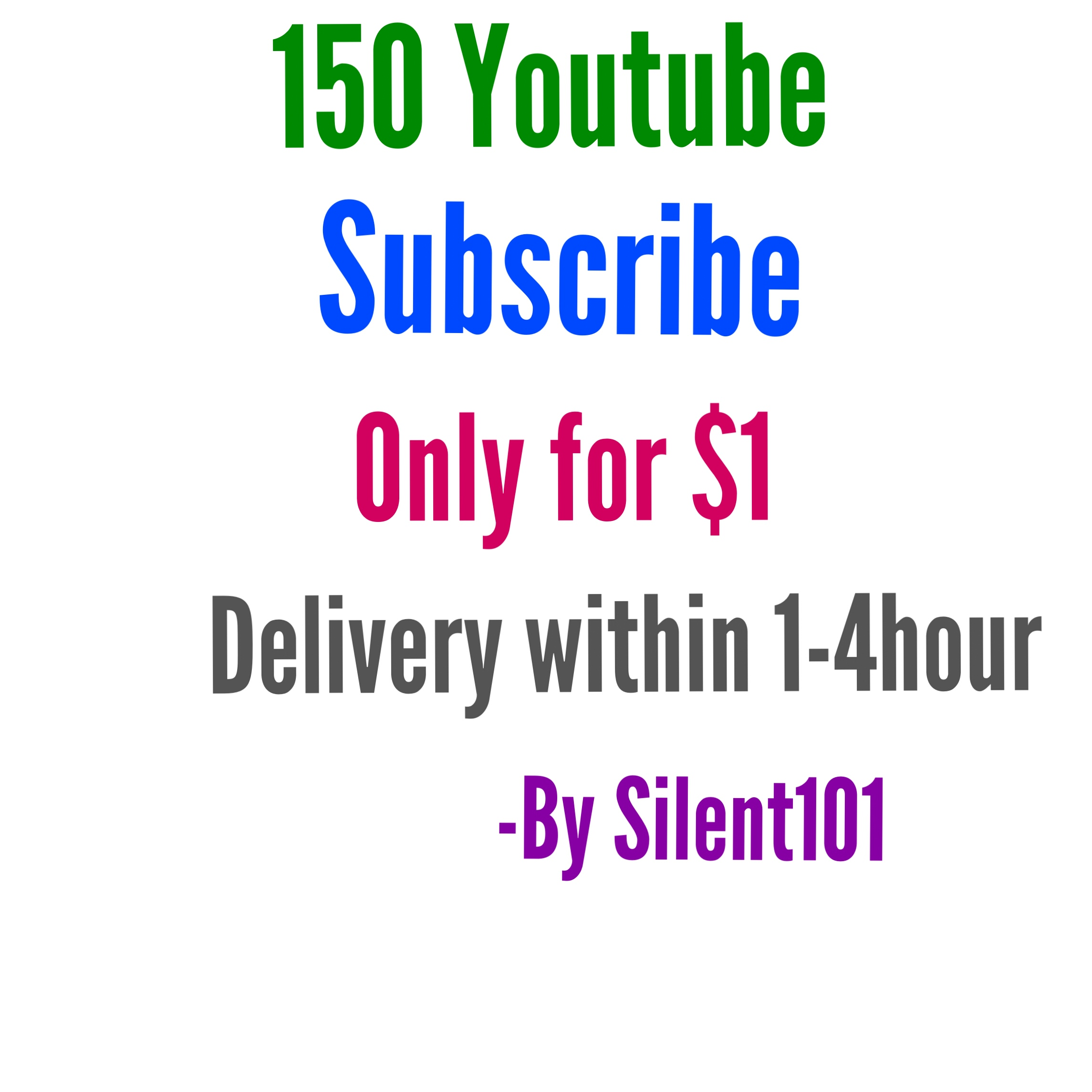 150 Real non drop Youtube Subscribe delivery within 1-4hour