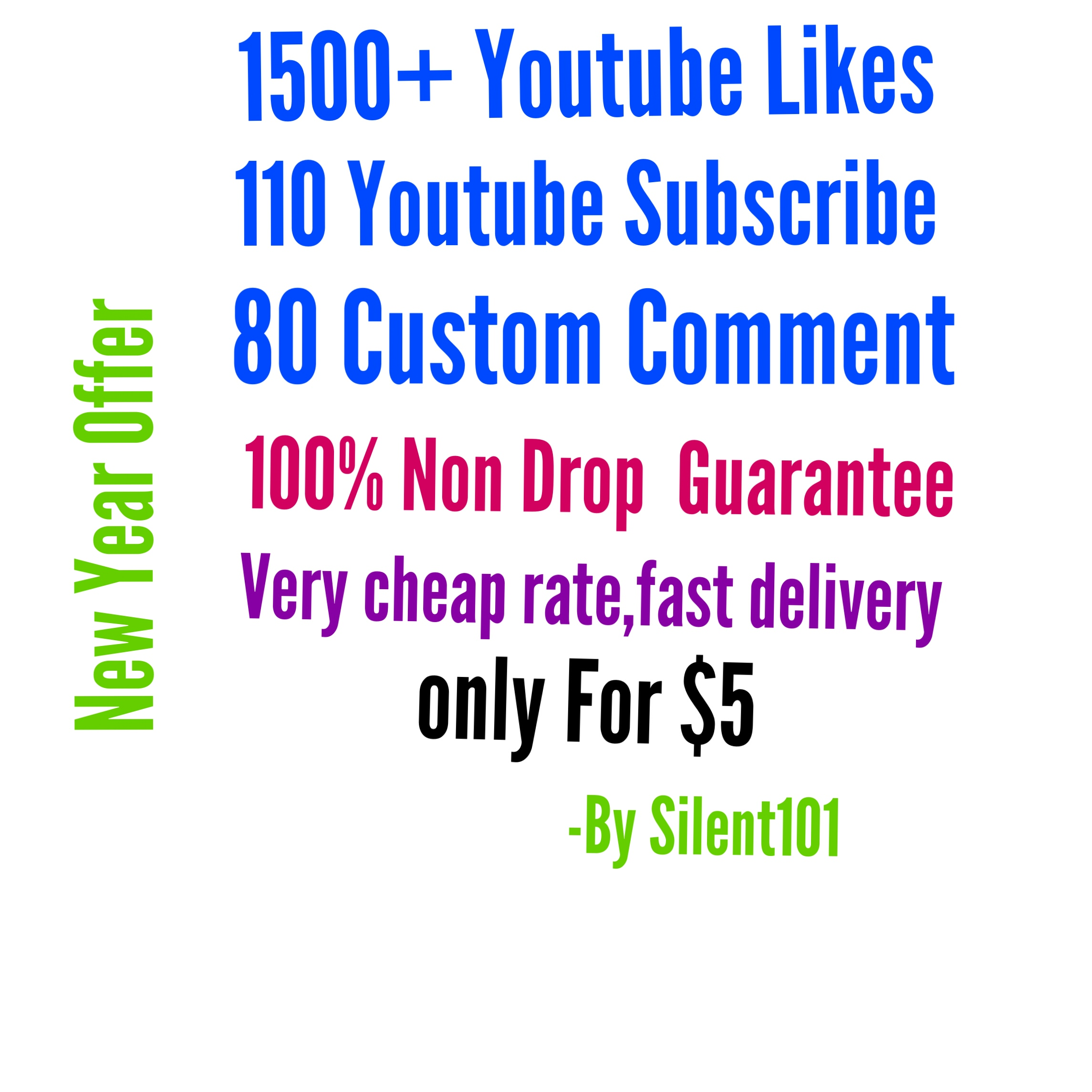 provide you 1500+ Youtube likes,110 YT subscribe, 80 YT custom comment non drop guaranteed within 6-24hour