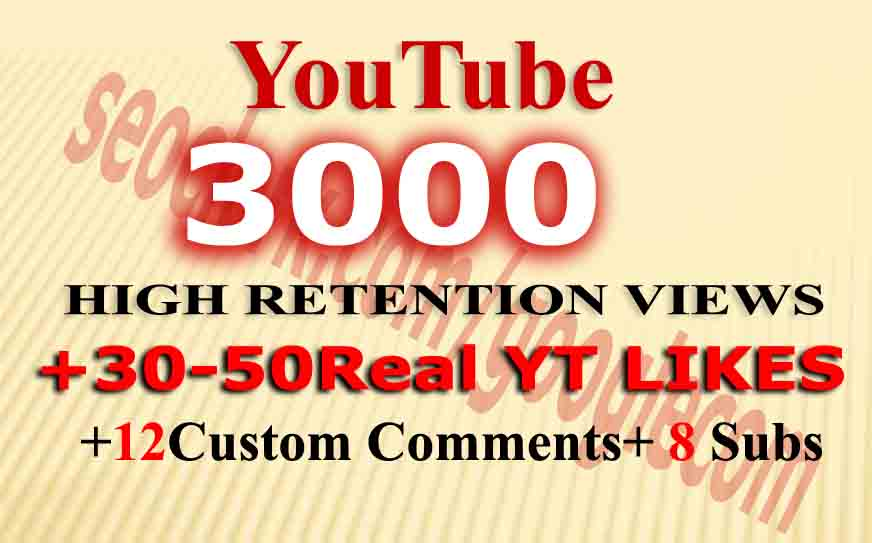 Instant 4000-5000 Monetizable views+ 80Likes+ 12comments+ 8 Subs