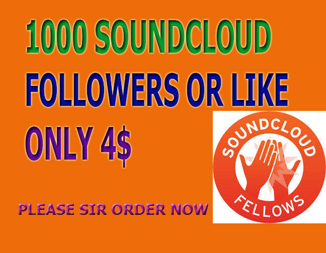 Best Offer Super Fast 1,000 soundcloud followers Or 1,000 soundcloud Likes