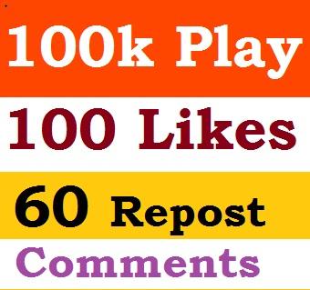 Buy 100k PIays, 110 LlKES,70 Rep0st,30 Comments