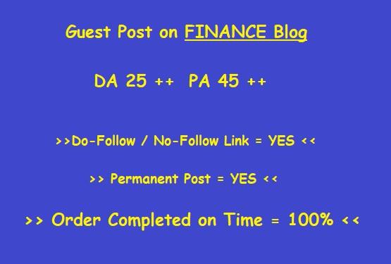 Guest Post on DA 25 plus FINANCE blog (writing + posting)