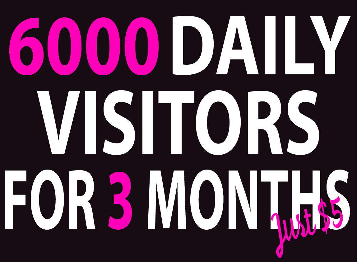 6000+ Daily traffic Visitors to Your website For 3 MONTHS BY Google Twitter Youtube vie ws and many more