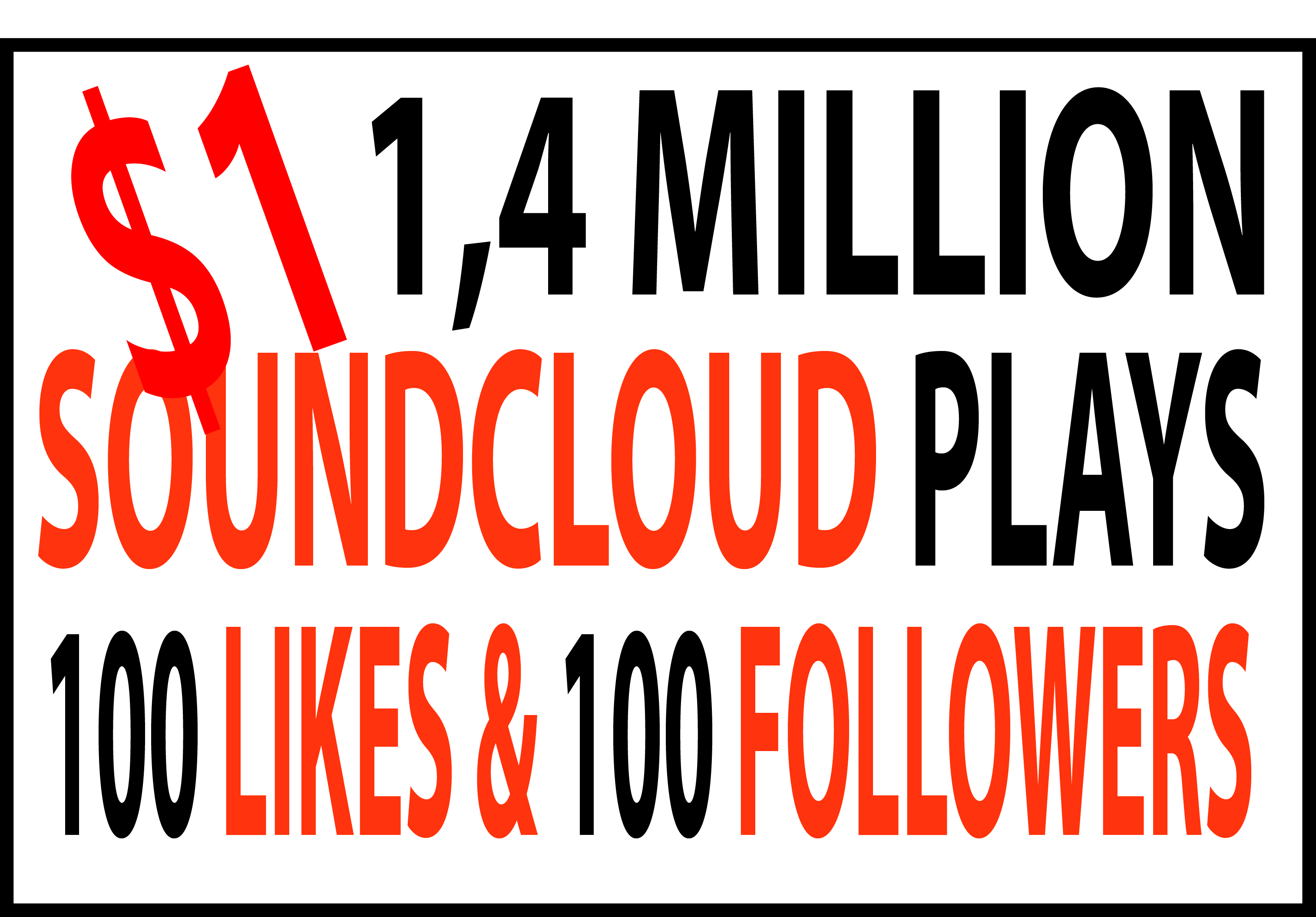 1.4 million SC Plays with 100 likes & 100 followers VERY FAST DELIVERY
