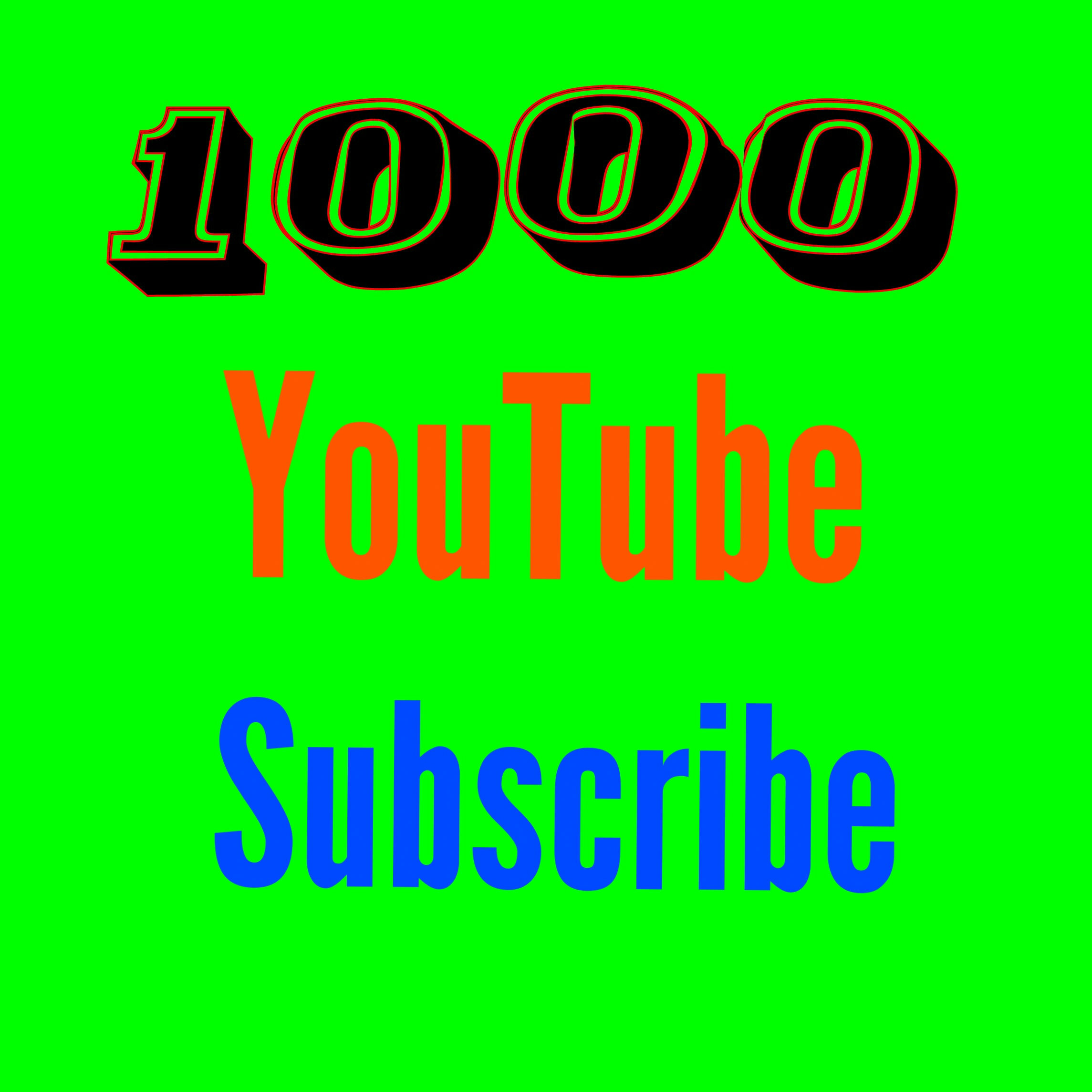 Active 1000 You'tube subs'cribe nondrop guaranteed