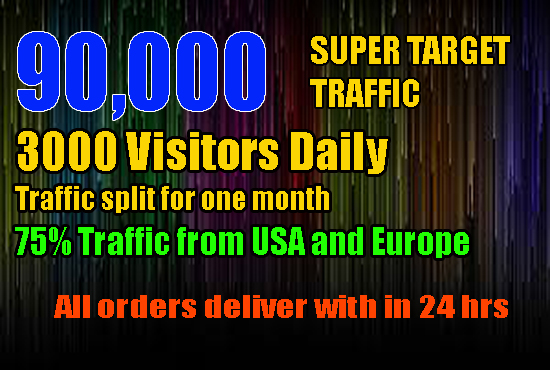 DRIVE 90,000 SUPER TARGETED, WEBSITE, TRAFFIC,VISITORS