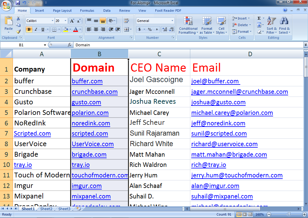 Do 500 Email Addresses Owner, CEO, CFO, Director For You.