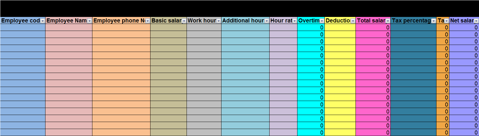 Spreadsheet to calculate employees' salaries