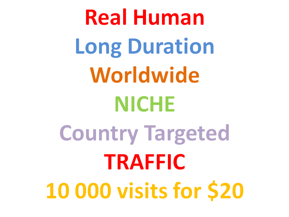 Human Long Duration Niche & Country Targeted TRAFFIC 10000 visits monthly