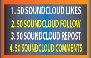 SOUNDCLOUD 50 LIKES 50 FOLLOW 50 REPOST 50 COMMENTS