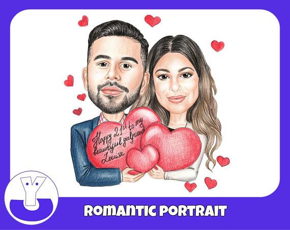 Custom Portrait,  Romantic Gift,  Couple Portrait