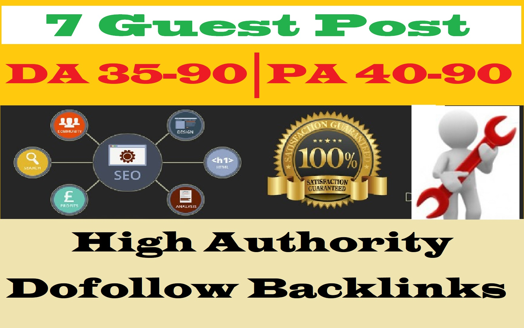 Free Offer - Write and Publish 7 Dofoollow Guest Poost DA 35-90 High Backlink
