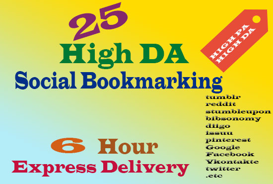 HIGH DA 25 SOCIAL BOOKMARKING IN 6 HOUR