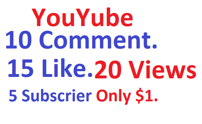 Mix You Tube Service 10 comment + 15 Like + 20 Video Views + 5 Subscriber. Within 1 Hours