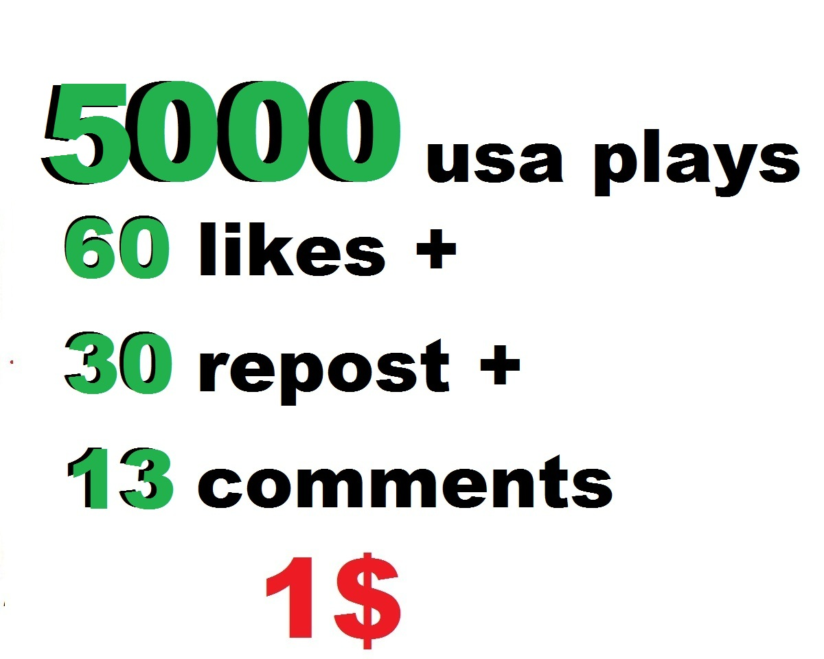 5000 usa soundcloud plays 60 soundcloud likes and 30 repost and 13 comments within 24 hour