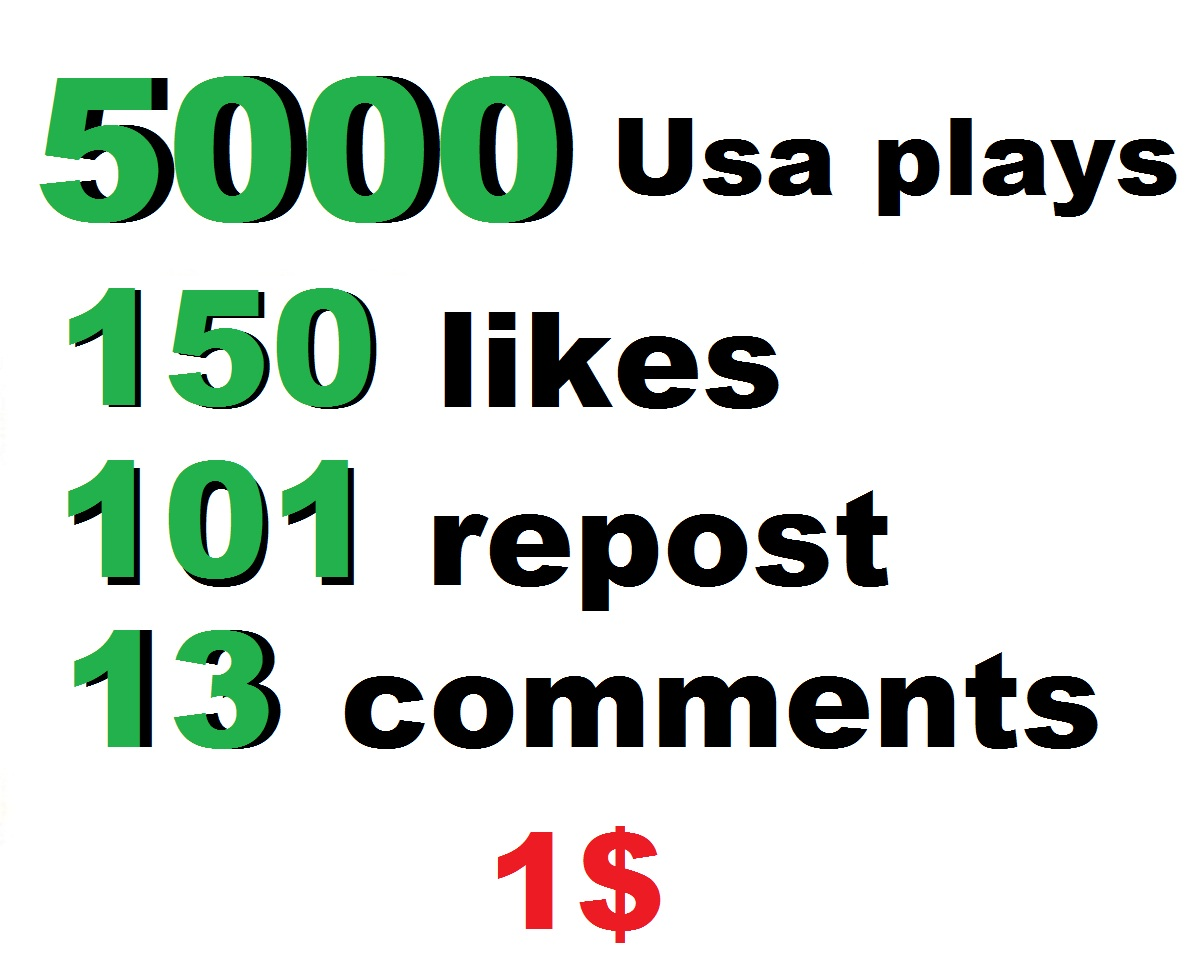 5000 usa soundcloud plays 155 soundcloud likes and 101 repost and 13 comments within 24 hour
