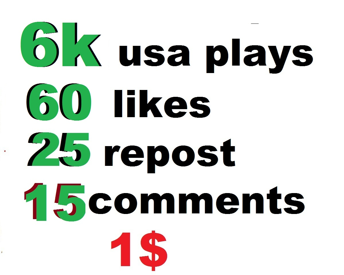 6000 usa soundcloud plays 60 soundcloud likes 25 soundcloud repost soundcloud 16 comments