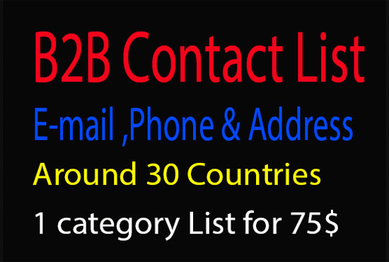 I Provide Any Business List With Email, Phone Number