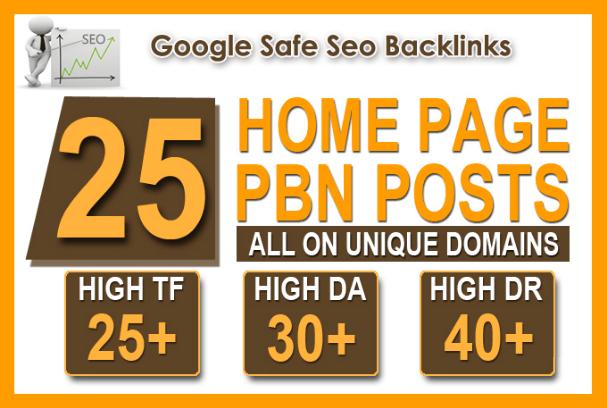 25 High Tf Cf Da Pa Homepage Pbn Backlinks Permanent
