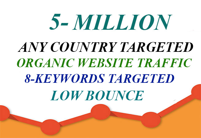 5 Million organic website traffic - Any Country Targeted Traffic - Low Bounce - 8 Keyword Targeted