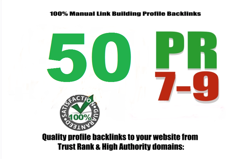 Create 50 PR9 Da 70 To 100 QUALITY Backlinks from PR 9-7 High Authority Sites Google Friendly SEO