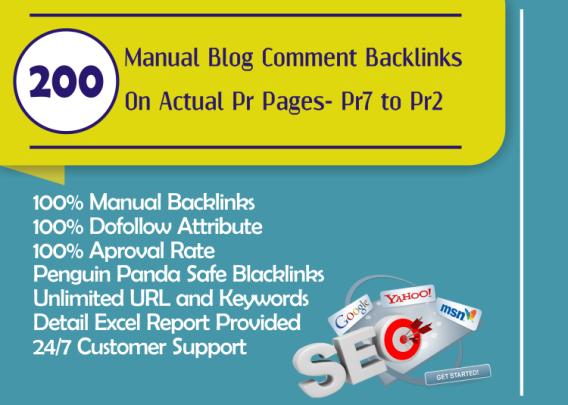 Do 200 SEO Blog Commenting Unique Backlinks Pr7 to Pr2