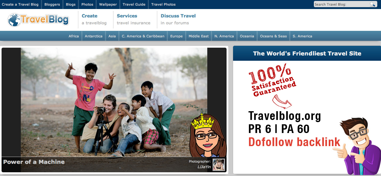 Write a Guest post on travelblog.org PR6 DA60 Dofollow backlink