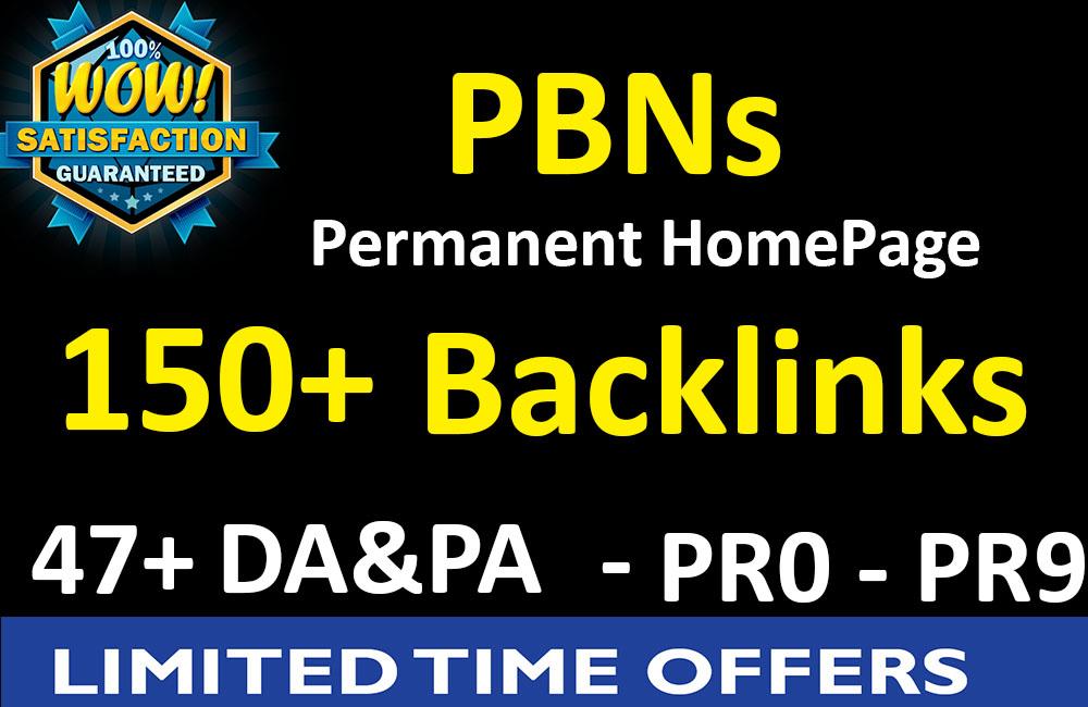 150 PBNs Permanent Homepage Backlinks - 47+ DA,PA,CF,TF  / PR 0 - PR 9 Boost your site