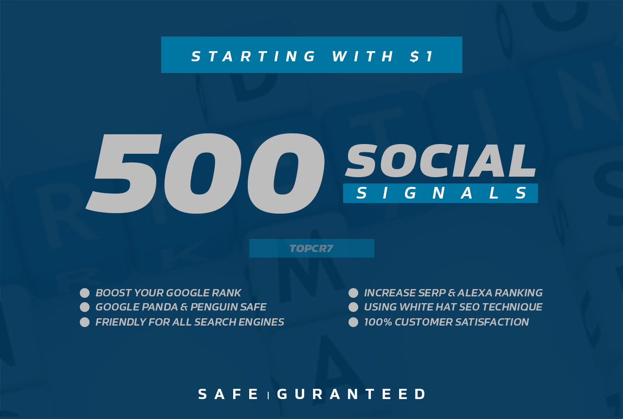 500 Social Signals Baclinks for your website Ranking