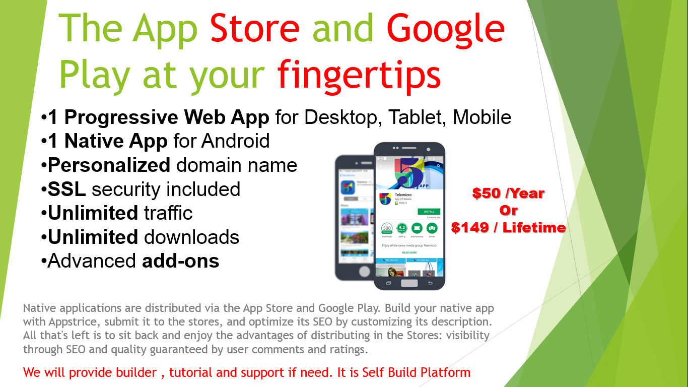 The App Store and Google Play at your fingertips