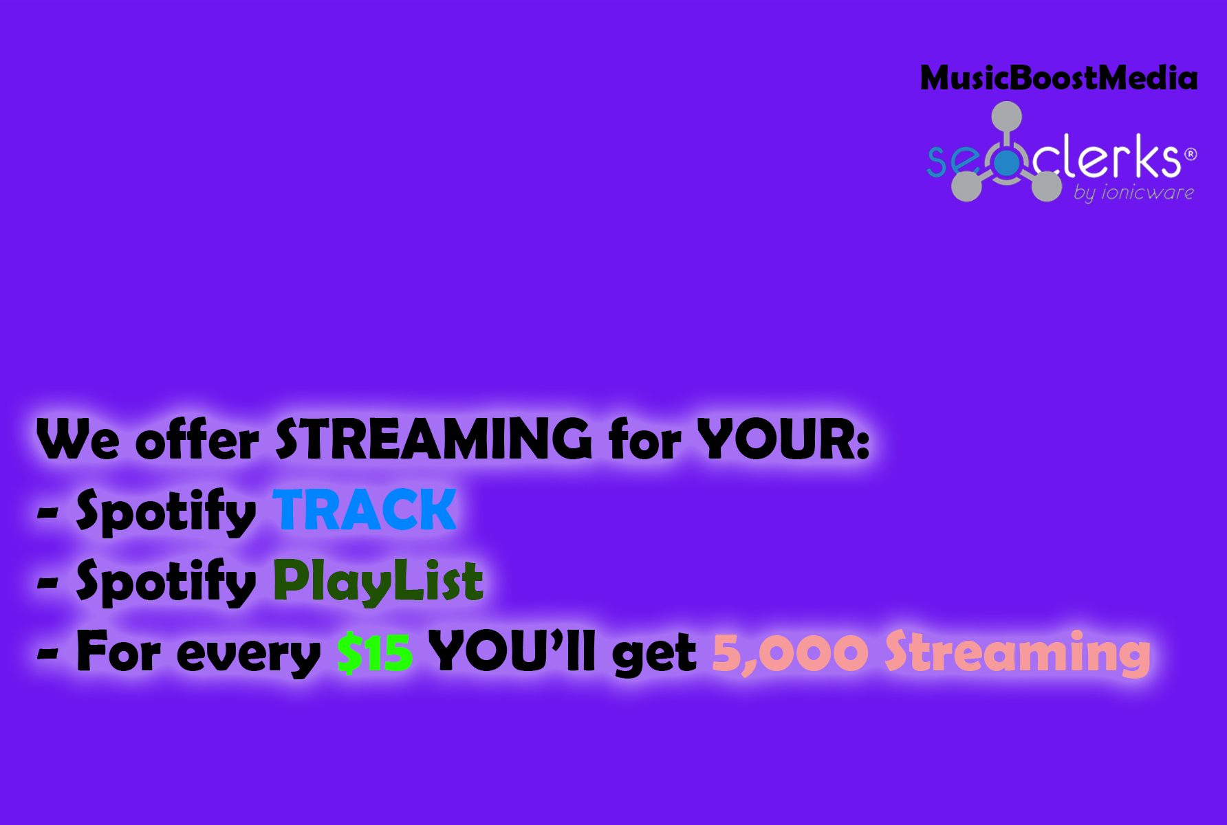 Get 100 Followers or 5,000 streaming plays on HQ Spotify!