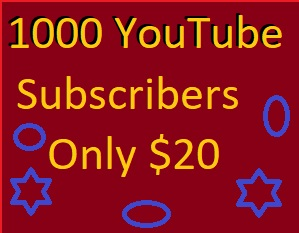 1000 You-Tube subs-cribers non drop service give you 24 hours delivery only