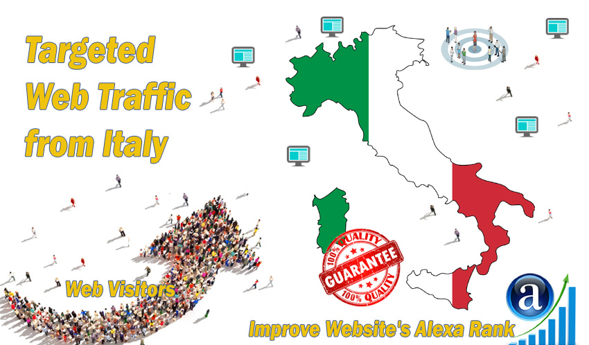 Send 50.000 Italy web visitors real targeted geo traffic