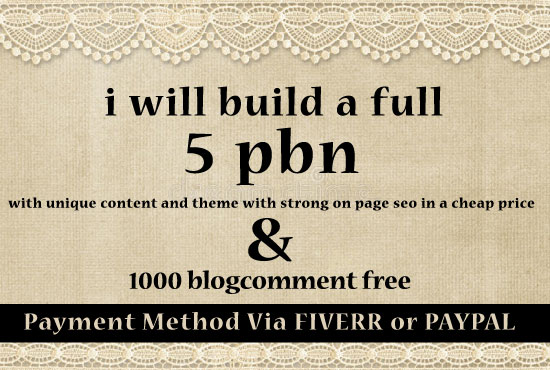 build a full 5 pbn with unique content and theme