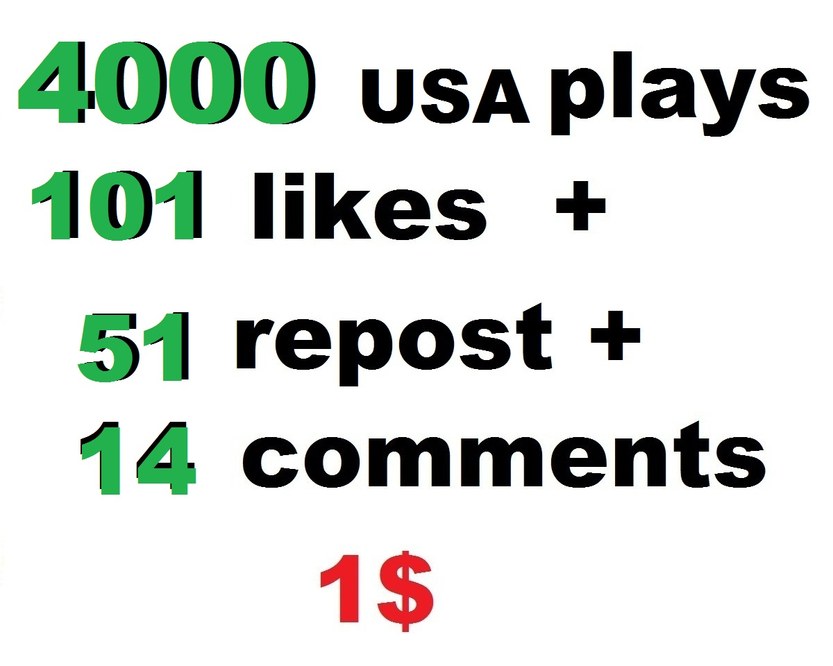 4000 usa soundcloud plays 101 soundcloud  likes and 51 repost and 14 soundcloud comments